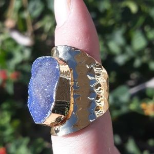 New Gold Plated Adjustable Sugar Druzy Ring.
